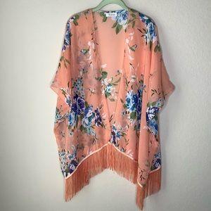 Soul Young Beachwear Cover up Kimono Orange
